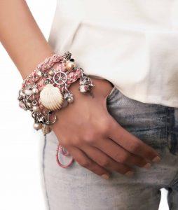 Pink Braided Bracelet Wear