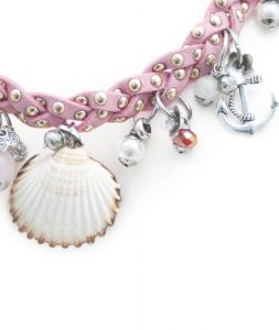 Pink Braided Necklace Detail