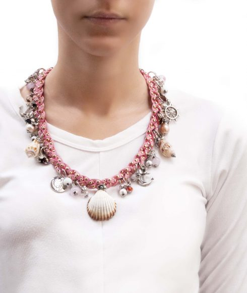 Pink Braided Necklace Wear