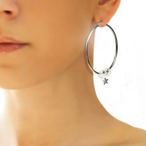 White Star Hoop Earrings Wear