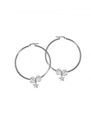 White star hoop earrings