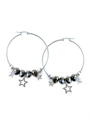 Black Stars Hoop Earrings