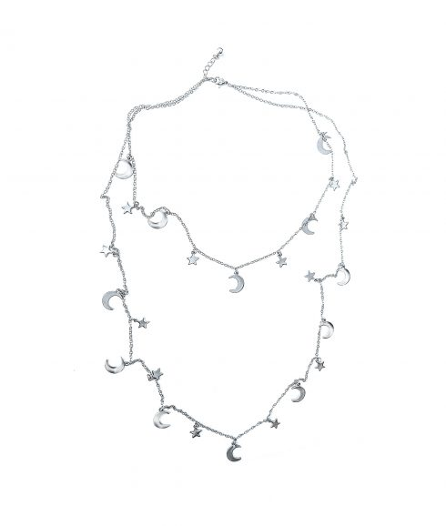 Long Moon and Stars Necklace