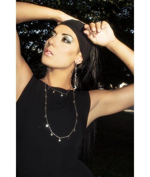 Long star necklace wear