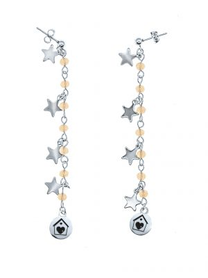 Salmon Crystal Star Earrings