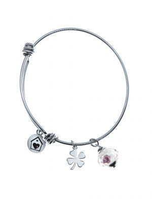 Quatrefoil White Crystal Bangle