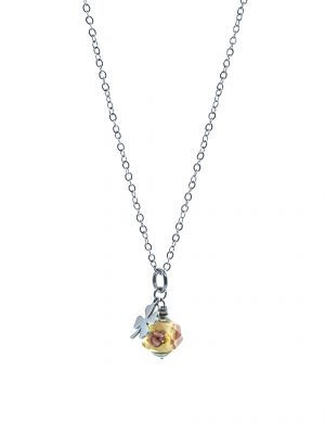 Quatrefoil Yellow Crystal Necklace